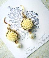 Ivory Chrysanthemum Earrings