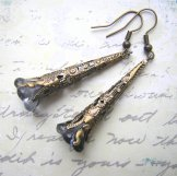 Antique Brass Filigree Earrings-  Dusk