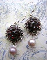 Round Garnet Crystal Earrings in Silver