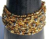 12 Strand Bracelet - Gold Tweed