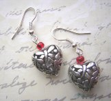 Filigree Heart Earrings Red (Also available with silver accent)