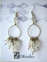 Crystal Beaded Hoops - Silver