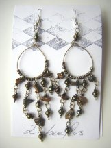 Beaded Hoop Earings - Bronze