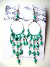 Beaded Hoop Earrings - Turquoise