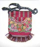 Huipil Bag - Medium Half Moon Patzun Flowers 6 ****SOLD****