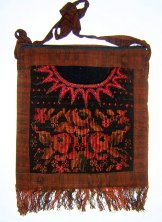 Huipil Bag -  Large Square Chichicastenango   Black with Roses ***SOLD***