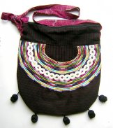 Huipil Bag -  Large Half Moon Joyabaj Black 3 ***SOLD***