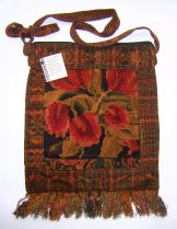 Huipil Bag -  Large Square Chichicastenango   Rust  Tulips