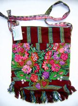 Huipil Bag -  Large  Half Moon Patzun Flowers 15 ***SOLD***