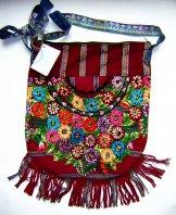 Huipil Bag -  Large  Half Moon Patzun Flowers 17 ***SOLD***