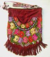 Huipil Bag -  Large  Half Moon Patzun Flowers 18 ***SOLD***