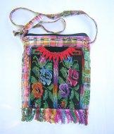 Huipil Bag -  Medium Square Chichicastenango   Black with Roses 2 ***SOLD***