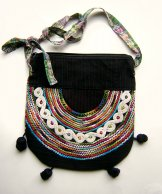 Huipil Bag - Medium Half Moon Black  ***SOLD***