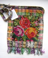 Huipil Bag - Med Square Chichicastenango Roses 2