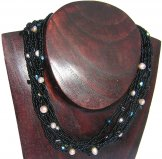 Monaco Necklace - Black with Pink Pearls