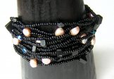 Monaco Bracelet - Black with Pink Pearls