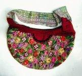 Huipil Crescent Bag - Patzun  Pansies 2 ***SOLD***