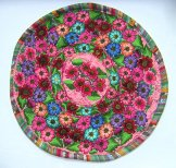 Round Huipil Pillow - Flowers on Pink ***SOLD***