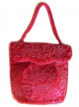 Square Beaded Envelope Purse - Raspberry