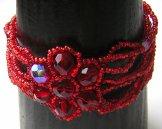 Crystal Flower Multistrand Bracelet - Red