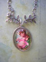 Pink Angel Necklace - Silver