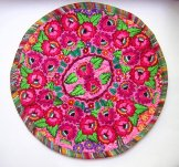 Round Huipil Pillow - Hot Pink Roses ***SOLD***