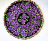 Round Huipil Pillow - Purple Flowers on Velvet