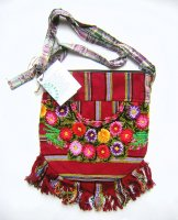 Huipil Bag -  Small Half Moon Patzun Flowers 11 ***SOLD***