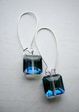 Crystal Square Earrings - Blue