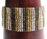 Medium - Stripe Woven Bracelet - Silver & Gold