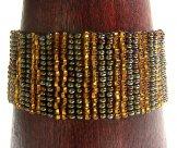 Medium - Stripe Woven Bracelet - Copper & Bronze