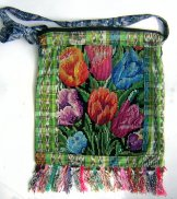 Huipil Bag -  Large Square Chichicastenango   Tulips ***SOLD***
