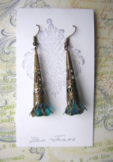 Antique Brass Filigree Earrings-  Turquoise