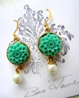 Turquoise Chrysanthemum Earrings