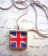 Union Jack Necklace -  Silver