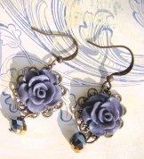 Vintage Rose Earrings - Dusk