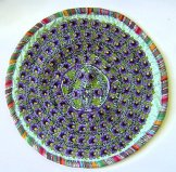 Round Huipil Cushion - Violets on Aqua  ***SOLD***