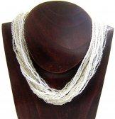 Classic 24 Strand Necklace - Silver & White