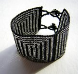 Wide - Pattern Woven Bracelet - Concentric Squares - Black and Silver
